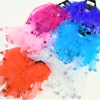 2 Pack Chiffon Hair Twisters Asst Bright  Colors w/ Dangle Stones   .54 per set