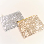 "4.5"" Gold & Silver DBL Sided Sparkle Coin Purse w/ Keychain .56 ea"
