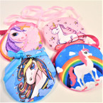 "4.5"" Velveteen Unicorn Side Bags w/ Long Strap .56 each"