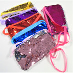 "6.5"" Change Color Sequin Zipper Bag w/ Lg. Strap .58 each"