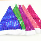 "15"" Asst Color Sequin Santa Hats 12 per pack ONLY .56 each"