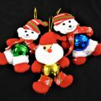 "Big 6"" Plush Christmas Ornament Bear/Santa w/ Bell .62 each"