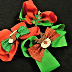 "5"" Red/Green Christmas Gator Clip Bow w/ Glitter Ornament .54 ea"