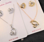 Gold & Silver Heart Theme Necklace Sets w/ Crystal Stones .58 each