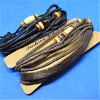 Multi Strand Teen Leather Bracelet w/ Wood Beads .54 ea
