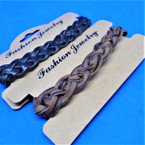 Teen Leather Bracelet Popular Braided Style (829) 2 colors    .54 ea