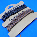 Teen Leather Bracelet Popular Braided Style (827) 2 colors    .54 ea