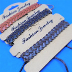 Teen Leather Bracelet Popular Braided Style (750) 3 colors    .54 ea