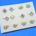 Fashionable Mix of Crystal Stone Rings Gold/Silver .54 each