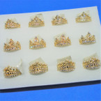 3 Style Gold Crystal Stone Rings Crown Theme .54 each