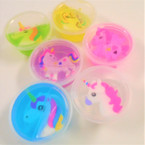 "2.5"" X 1"" Jar of Putty w/ Unicorn Inside  Asst Colors .50 ea"