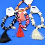 Chipped Stone & Crystal Bead Bracelets w/ Tassel .56 each