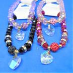Crystal Bead Bracelets w/ Mini Crystal & AB Color Glass Heart  .60 each