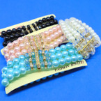 BEST BUY 3 Line Glass Pearl & Cry. Bead Bracelets Mixed Colors  .60 ea