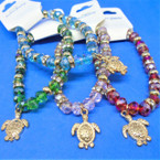 Crystal Bead Stretch Bracelets w/ Gold Turtle Charm .56 each