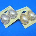 "Elegant 1"" Gold & Silver Pearl w/ Crystal Stone Pierced Earrings .54 ea"