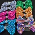 "6"" Metallic Mermaid Scale Gator Clip Bows w/ Crystal Stones .54 ea"