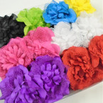 "4"" DBL Mum Flower Jaw Clip Bows w/ Lace  Asst Colors  .56 each"