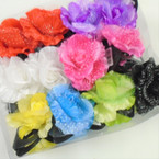 "4"" DBL Flower Jaw Clip Bows w / Glitter  Lace  Asst Colors  .56 each"