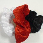 3 Pack Large Size Velvet Hair Scrungi Blk,White,Red .54 per set