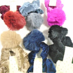 "2 Pack  Velvet Hair Scrungi w/ 2.5"" Fury Pom Pom  .54 per set"