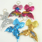 "3"" Change Color Sequin Mermaid Tail Keychains w/ Sparkle Bow .56 ea"