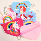 "5"" Heart Shaped Unicorn Theme Zipper Coin Bag w/ Keychain .56 ea"