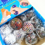 "2.5"" Multi Color Squeeze Black/White Mesh Balls 12 per display bx .56 each"
