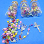 "32"" Multi Color Mini Pearl Bead Rosary w/ Silver Cross in Glass Bottle .58 ea"