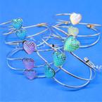 3 LIne Gold/Silver Wire Bangles w/ Mermaid Scale Hearts .54 ea