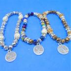 Metallic Crystal Bead & Mini Crystal Bracelets w/ Tree of Life Charm .56 ea