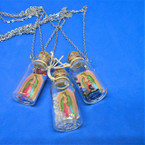 Glass Bottle Pendant Necklace w / Guadalupe & Crystal Beads .58 ea