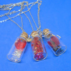 Glass Bottle Pendant Necklace w / Red Heart & Crystal Beads .58 ea