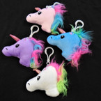 "3""Plush  Fury Mane Unicorn w/ Clip  Asst Colors .62 ea"