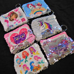 "BEST BUY 4"" Magical Sequin Change Picture Zipper Coin Purse w/ Keychain .58 ea"