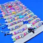 Colorful Beaded Unicorn Bracelets 12 per card .54 ea
