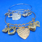 Gold & Silver Wire Bangle Bracelet w/ Heart Charms   .54 ea