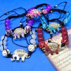 Macrame & Shiney Bead Bracelet w/ Crystal Stone Elephant .54 ea