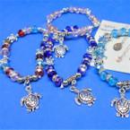 Crystal Bead Bracelet w/ Silver Turtle Charms .54 ea