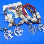 Crystal & Fireball Bead Bracelet w/ Silver Tree of Life Charm .54 ea