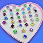 Silver Mixed Style & Color Crystal Stone Rings 36 per pk .21 each