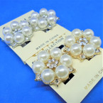 Elegant Gold & Silver Pearl & Crystal CLIP ON Earrings .54 ea