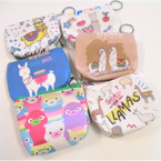 "4"" Mixed Design Lama Theme Coin Purse w/ Keychain .54 ea"
