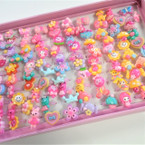 Kids PLastic Fashion Rings 100 per display bx .08 each