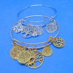 Gold & Silver Wire Bangle Bracelet w/ Tree of Life Charms    .54 ea