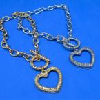 Gold & Silver Link Bracelet w/ Crystal Stone Open Heart Charm     .54 ea
