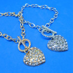 Gold & Silver Link Bracelet w/ Crystal Stone  Heart Charm     .54 ea