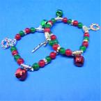 Red & Green Beaded Christmas Bracelet w/ Jingle Bells & Charms .54 ea