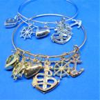Nautical Theme Gold & Silver Wire Charm Bracelets .54 each