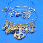 Nautical Theme Gold & Silver Wire Charm Bracelets .54 each